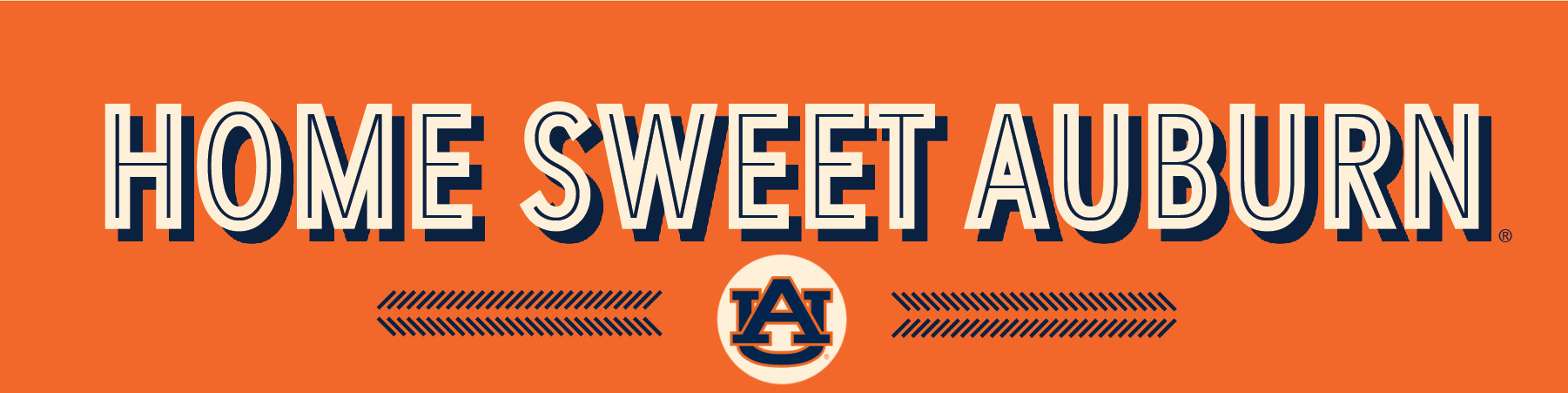 """Home Sweet Auburn"" Banner with bold text and interlocking AU logo"