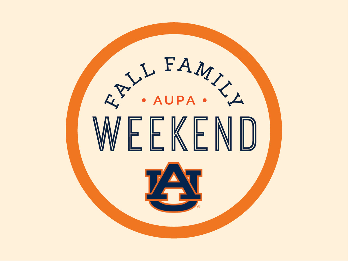 """Fall Family Weekend"" Banner with text and interlocking AU logo"